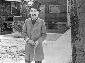 Chaplin's first on-screen appearance