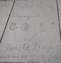 Second only to Douglas Fairbanks, Harold Lloyd was the 5th person to set his handprints at the Chinese Theater forecourt