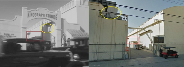 Click to enlarge. The Kinograph Studio entryway and other studio scenes portrayed in The Artist were filmed at the Red Studios, 846 N. Cahuenga Boulevard. The Lillian Way entrance pictured here was fixed up to appear in the movie. The red box marks the same sliding door and shed in both images. The left yellow oval marks the shadow cast by the modern day rooftop air-conditioning unit (the right yellow oval), replaced with open sky in the movie frame. The other entrance to the Red Studios on Cahuenga was used in Who Framed Roger Rabbit ?, see end of post below. (c) 2011 Google.