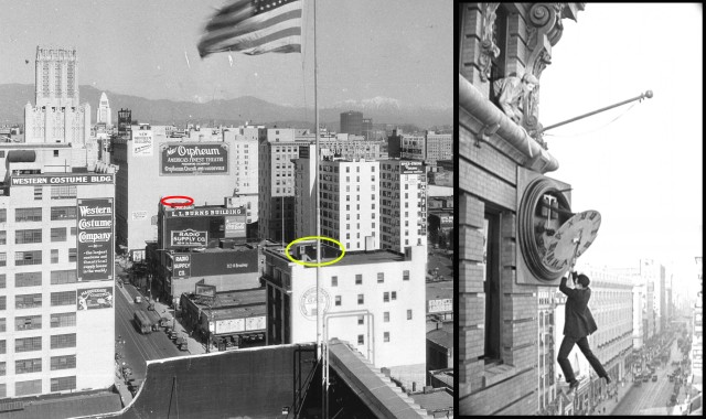 Click to enlarge.  This circa 1928 photo looks up Broadway from Tenth Street (now Olympic).  The newly completed Los Angeles City Hall appears as the white tower in the far background.  Harold Lloyd filmed the clock stunt from Safety Last! (1923) on the roof to 908 S. Broadway (red oval above), just steps away from the Orpheum Theater that opened in 1926.  Today the Art Deco Ninth and Broadway Building, completed in 1930, obscures the painted Orpheum Theater wall sign.