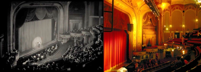 The Artist, George Valentin, portrayed by Jean Dujardin, takes a bow on the historic Orpheum Theater stage. Color image by Kara Brugman; http://www.flickr.com/photos/hyperbolation/2675673050/