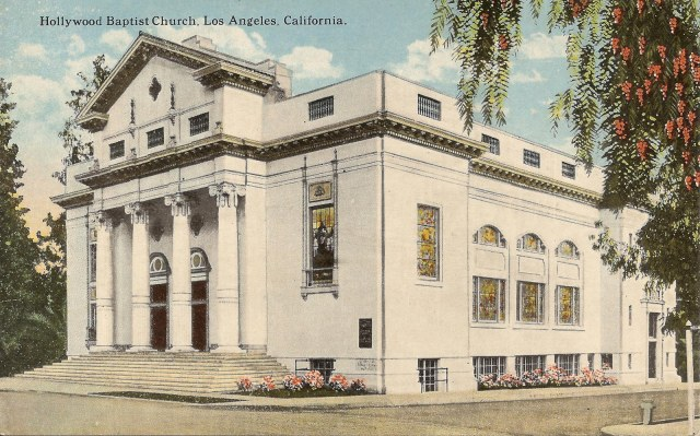 This vintage postcard shows the front of the church where Keaton filmed.