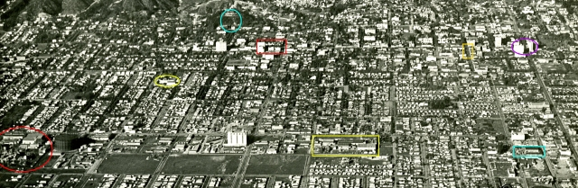 Click to enlarge. From left to right: the Pickford-Fairbanks Studio (red oval), the Chaplin Studio (yellow oval), the Bernheimer Estate and future Magic Castle (teal oval), the Hollywood Hotel (red box), the Harold Lloyd (Hollywood Metropolitan) Studios (yellow box), the Keaton Studio (teal box), the block of Cahuenga south of Hollywood Boulevard where Keaton and Lloyd frequently filmed (orange box), and the intersection of Hollywood and Vine (purple oval). HollywoodPhotographs.com.