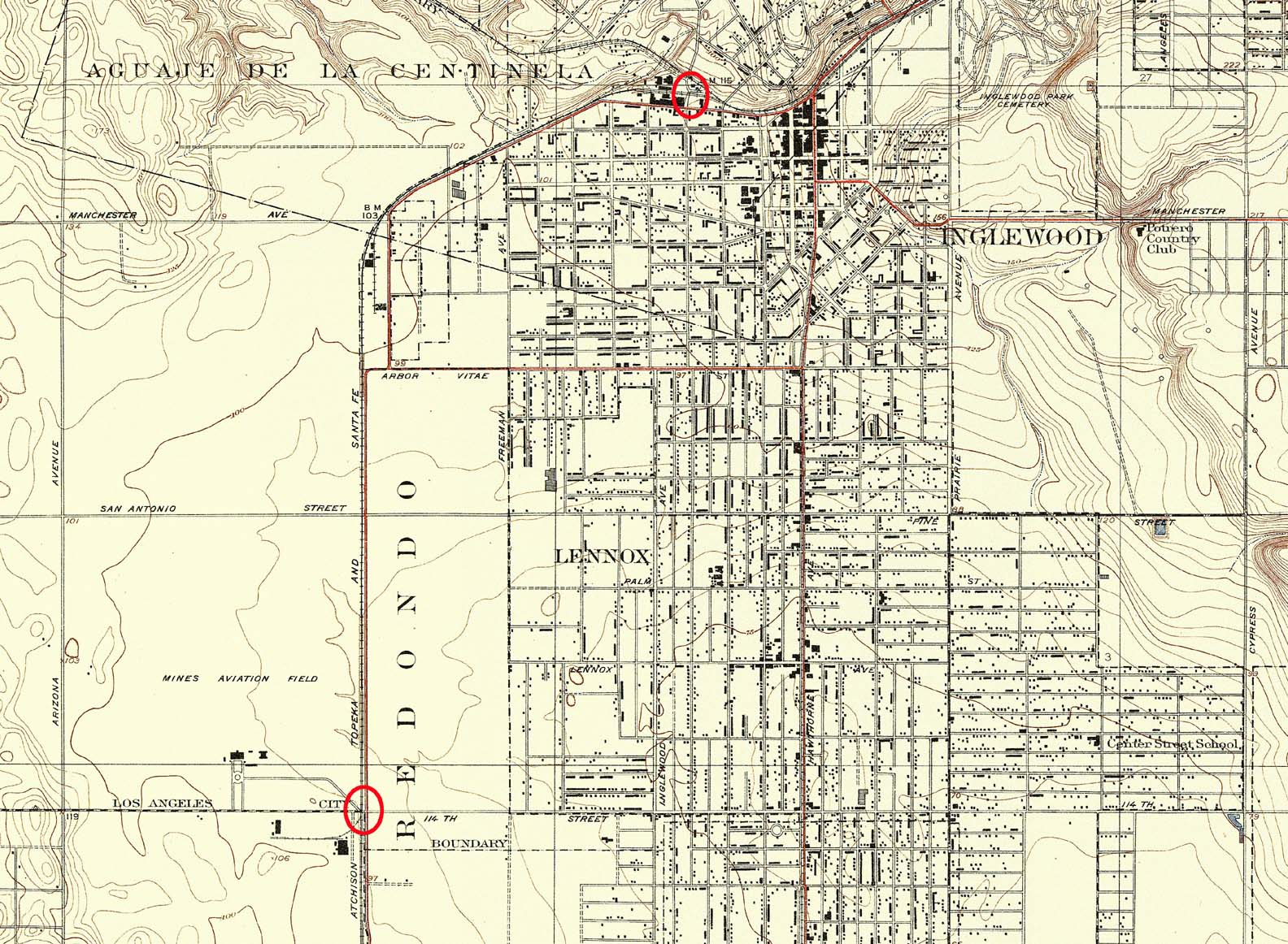 A Tale Of Two Train Wrecks And One Airport By Buster Keaton - Inglewood map