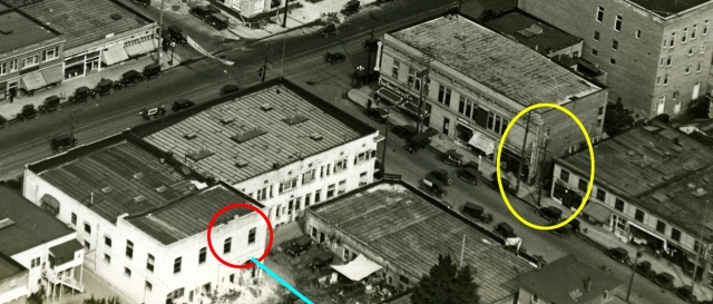 Click to enlarge.  Another 1922 view of Toberman Hall (red oval) in relation to the Cops alley (yellow oval).