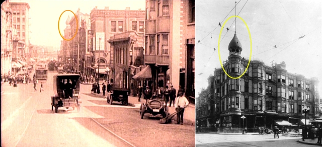 Click to enlarge.  Both images show the distinctive dome tower of the Wilson Building that once stood at 1st and Spring.  Tagging this unique dome was the clue to solving this location mystery.