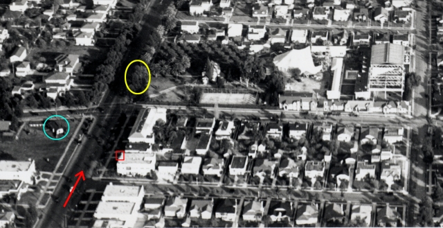 Click to enlarge. The red box and yellow oval match the above movie frame. The Chaplin Studio backlot shows a half-circus tent set built for Chaplin's 1928 feature The Circus     Click to enlarge. The red box and yellow oval match the above movie frame. The Chaplin Studio backlot shows a half-circus tent set built for Chaplin's 1928 feature The Circus