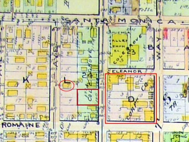 The Keaton Studio, circa 1921, within Eleanor, Cahuenga, Romaine, and Lillian Way - the barn at upper left.