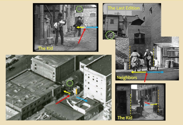 Click to enlarge. Upper left, Charlie runs north past a bakery brick oven. The two lower right images show the reverse sides of the same shed.
