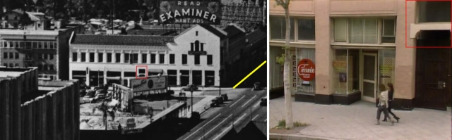 The former Shatto Place storefronts at the corner of Wilshire (now a vacant lot), where Harry filmed along the yellow line for The Strong Man.  The corner was originally a Rolls Royce dealership (see far above).  The red box stands to the right of the camera shop appearing in the opening credits to the Punky Brewster TV show (right).