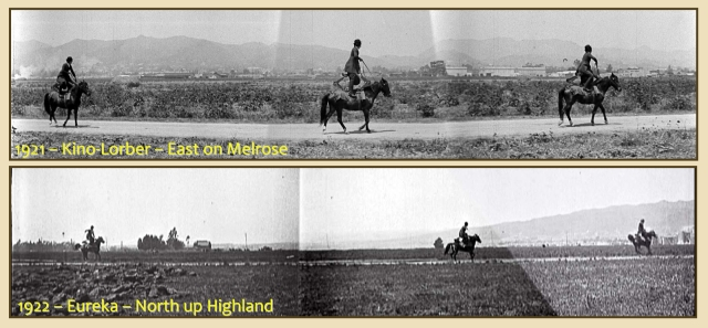 At top, riding east in 1921 along Melrose looking north (Kino-Lorber); immediately above, looking west, riding north up Highland in 1922 past the La Brea barn and a landmark tree towards the Robin Hood set (Eureka).