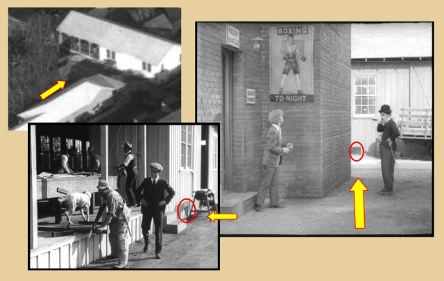 Click to enlarge - the arrow points east towards the Chaplin Studio carpentry shop.