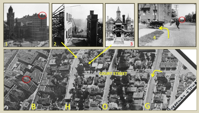 This 1919 aerial view looking south situates the Bradbury Mansion (3 - viewed from Hill St) and the Chestmere Apartments (arrow).  The south overlook of the Hill Street Tunnel (2) is where Lloyd and many other comedians filmed stunt comedies. The movie frame oval shows the tower of the former Hall of Records (1).  Street index - (B) Broadway, (H) Hill Street, (O) Olive Street, (G) Grand Avenue.    Watson Family Photographic Archive