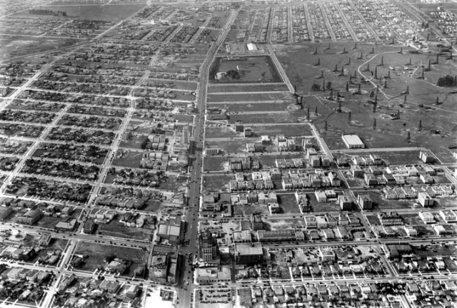 A 1930 view west of the filming sites along Wilshire - LAPL.