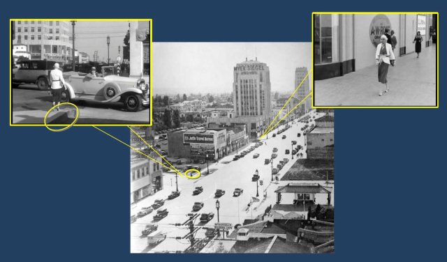 Why did Cagney meet Harlow on the corner of Detroit, yet they first filmed her at the corner of Cloverdale?  Because at the time the Detroit corner was an un-photogenic parking lot.  The parking lot curb (oval) appears in this view looking west.