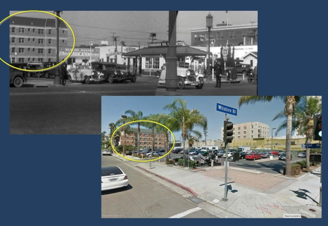 Cagney and his buddy played by Edward Woods drive south down Detroit Street crossing Wilshire.  The Wilshire Manor Apartments (oval) stand at back.