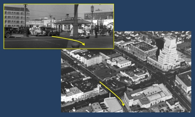 This aerial view shows Cagney's path down Detroit across Wilshire.