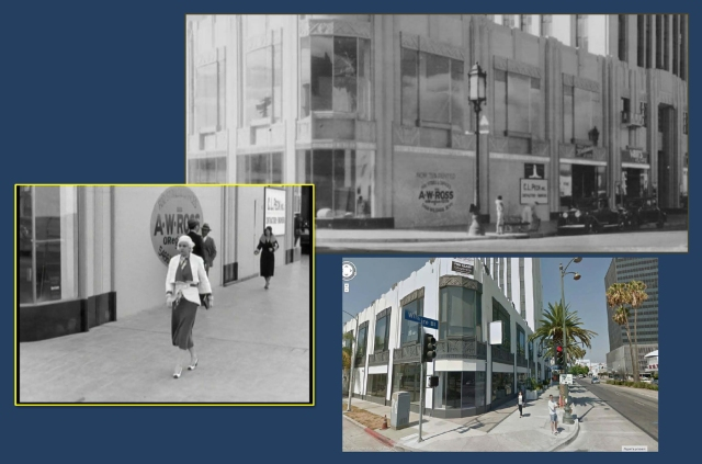 This front view of Harlow, supposedly on the same corner, was filmed one block further west, at the corner of Cloverdale Avenue. The real estate ad behind Jean also appears in this vintage view.