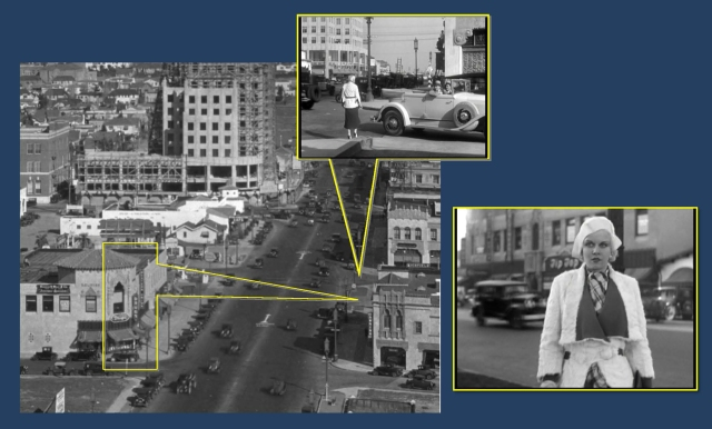 Cagney stopped at the corner of Detroit (above). Harlow is introduced in closeup standing on Wilshire, near the same corner, but looking to the NW, with a row of buildings on Wilshire behind her.