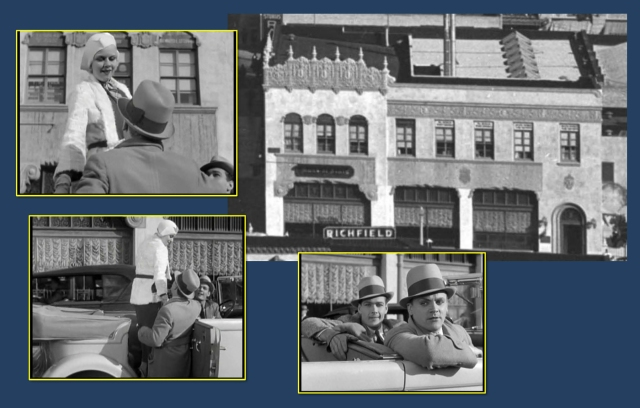 Cagney convinces Jean to allow him to give her a ride. These views show details on the building standing on the SE corner of Wilshire and Detroit.