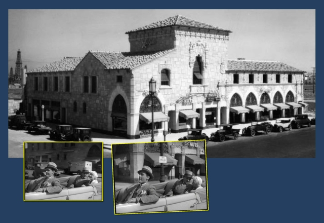 """Edward Woods plays chauffeur, driving Cagney and Harlow along side this beautiful building now lost to history.  Notice the matching """"NUTS"""" sign detail.  The view looks toward the NE corner of Wilshire and Ridgley."""