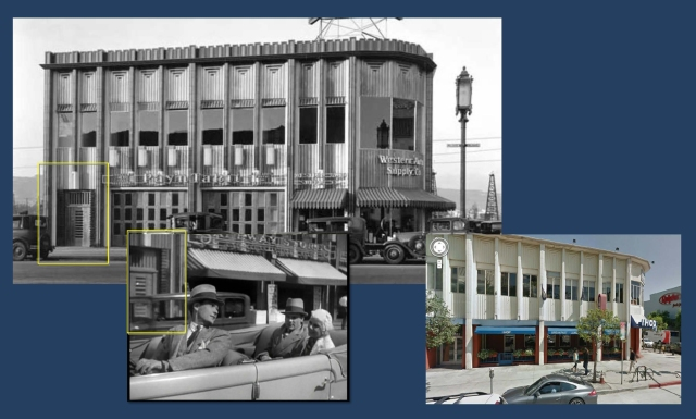 Continuing driving west along Wilshire from Ridgely, the car passes an existing store, home to a Safeway at the time of filming, and to a Pay n Takit  store in the vintage photo.