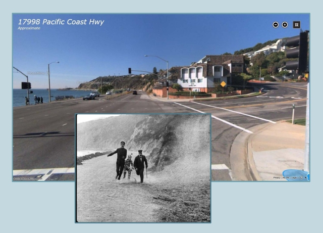 Looking west where Coastline Drive meets the Pacific Coast Highway.  (C) Microsoft Corporation.
