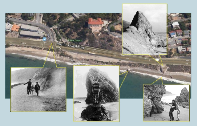A modern view showing Coastline Drive (l), Haystack Rock, Castle Rock (leveled in 1945 as a safety measure), and the Chaplin filming site (r).  (C) 2014 Microsoft Corporation