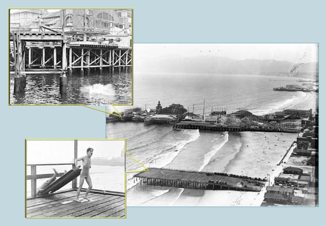 With clever editing, Charlie dumps Eric into the water from the Center Street Pier (lower left), yet Eric hits the water beside the Abbott Kinney Pier (upper left).