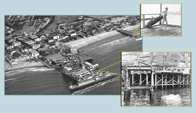 A reverse view of Eric's bifurcated spill into the water.  The Abbot Kinney Pier would burn almost completely a few days after this photo was taken in 1920.  It was quickly rebuilt in 1921.  Marc Wanamaker - Bison Archives