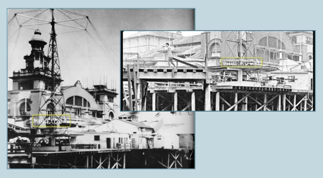 "The front of the Venice Auditorium appears in both images, along with a ""MUIRAUQA"" sign, the back of the illuminated sign for the Venice AQUARIUM.  LAPL"