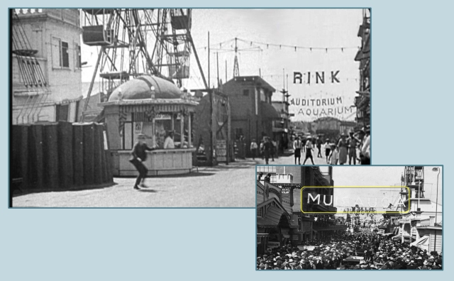 This view from Harold Lloyd's 1920 short comedy Number Please? reveals the AQUARIUM sign as it appeared to the public strolling down the pier.  The inset view looks the other way.  LAPL