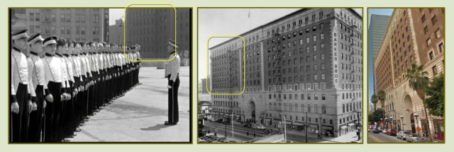 The movie begins with the ushers lining up for inspection.  The existing Barker Brothers Building, (4) above, appears to the right.  LAPL.