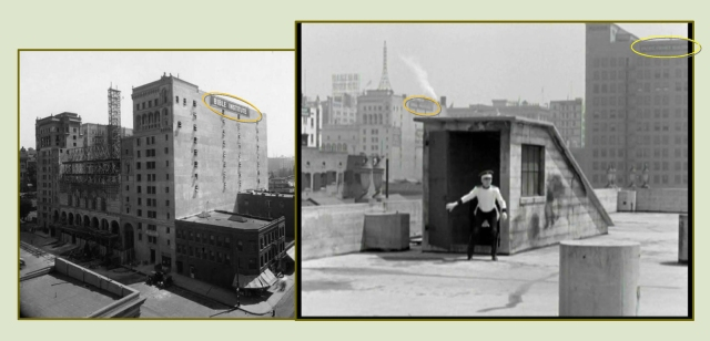 "When Jimmy dashes onto the roof from the stairwell shed, the former Bible Institute Building on Hope Street, (1) above, appears at back.  LAPL.  The building's later installed pair of large neon ""JESUS SAVES"" became a downtown landmark."