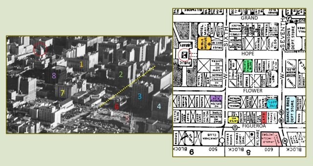 This later aerial view shows the various buildings in relation to the Arnold Building roof (5).  Note on the 1934 map that Wilshire Blvd. terminated at Figueroa.  The later aerial photo shows that Wilshire (dotted yellow line) was later extended three blocks further to Grand.  USC Digital Library.