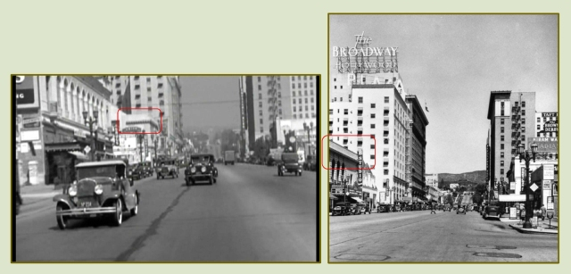The action skips to Hollywood.  Cagney and Mae Clark are chased down Vine Street from Hollywood Blvd. past the Vine Theater (red box). LAPL.