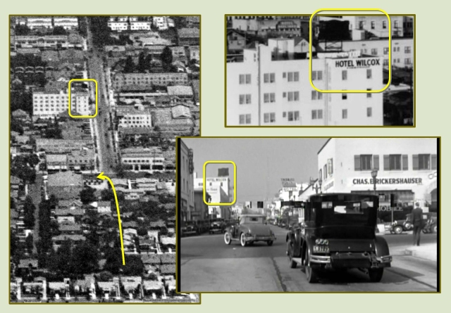 Next, the killers chase Cagney north up Wilcox, where he turns left, west, onto Sunset Blvd.  The extant Hotel Wilcox appears in each image.  Notice that Wilcox was not yet a through street when this aerial view was taken in 1928.  Marc Wanamaker - Bison Archives.
