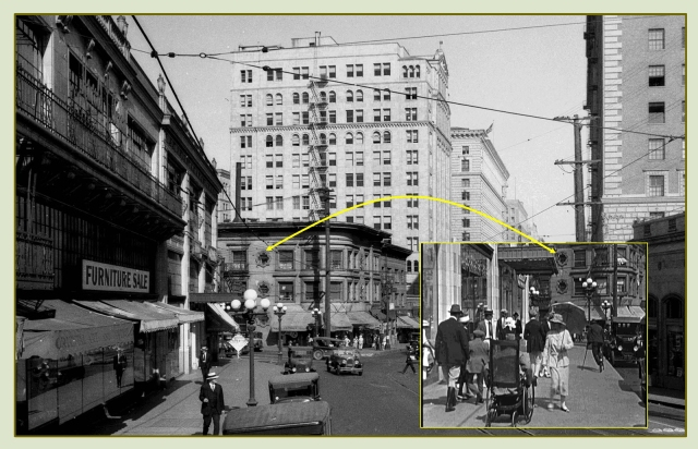 Looking east along 7th Street toward the corner of Figueroa, with a matching view (inset) from Harold Lloyd's Never Weaken.  The Arnold Building where Cagney filmed on the roof, stands to the left.  USC Digital Library.