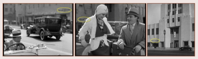 Night Nurse was filmed in fromt of the Wilshire Tower Building, the same spot where two years later James Cagney drops off Jean Harlow in Public Enemy (1933). The Oscar Balzer store (oval) appears in each image.