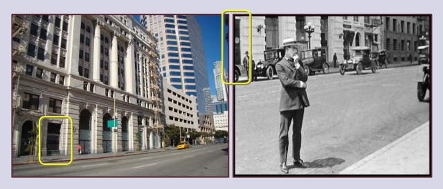 The Trinity was a popular early filming location. Here it appears behind Harold Lloyd during Bumping Into Broadway (1919).