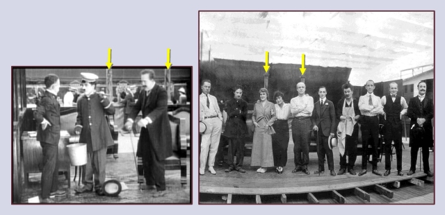The arrows identify matching details of the bank set as they appear in the film and in the group photo.