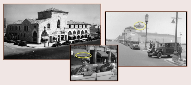 As Clark Gable's ambulance turns east from ;;;;;, we get a clear view west down Wilshire towards the Ralph's Market building on Hauser.  The Pig 'N Whistle restaurant's roof top sign appears during the shot.  Two years later, in Public Enemy, Jean Harlow and James Cagney drive past the same building.  You can read Pig 'N Whistle on the awning (oval).  LAPL.