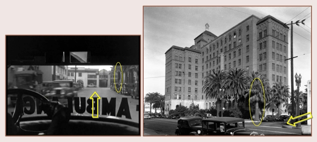 This view looks west up 15th Street (arrow) towards Hope Street before the ambulance turns right onto Catesby Lane.  The same palm tree standing at the corner of California Hospital is marked in each image.  LAPL.