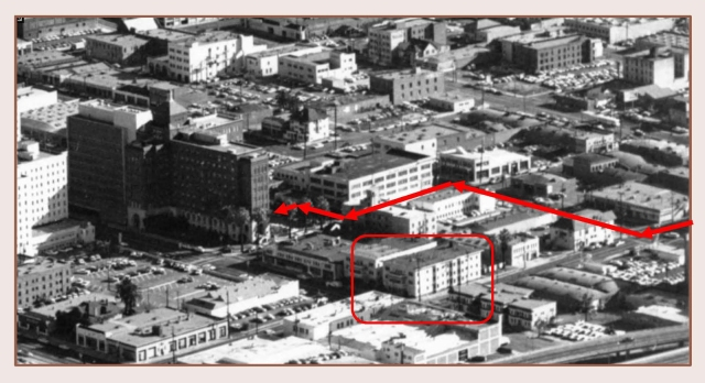 Looking north, this 1950s aerial view shows the ambulance's path.  The box marks the extant Finn Building and the Essex Apartments on Hope Street. USC Digital Library