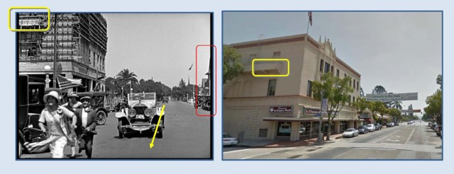 John Gilbert drives west on Chapman Avenue towards Plaza Square. At back, under construction, is the Odd Fellows