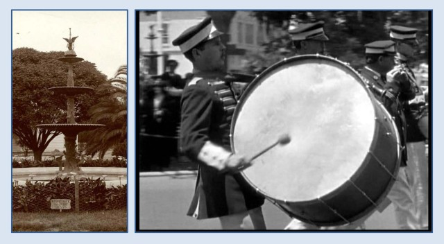 The former fountain at the center of Plaza Square appears behind the drummer during this shot. USC Digital Library.