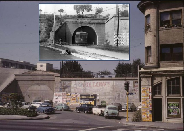 Views of the tunnel portal before and after it was closed over. Mark Forer.