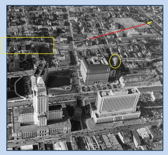 nother view of the northern Hill Street Tunnel (dotted line) running from Sunset to Temple. The Boys entered at the Sunset portal (arrow). After the trolley tracks crossed Temple (running down the photo center) they continued left on Hill Street under Court Hill (yellow box).