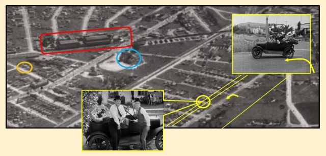The Hal Roach Studio (red), Sebastian's Cotton Clue (blue), Vera Ave. filming site (yellow oval), the Boys' left turn from Ivy onto Bedford (arrow), and Helms Ave. filming site for the sinking car (orange oval).
