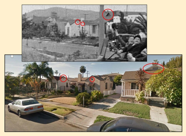These homes along Ivy Street appear at back as Stan and Ollie make their turn.  The ovals mark corresponding details.